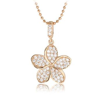 14K Pink Gold Plumeria Pendant with Pave Clear CZ Set