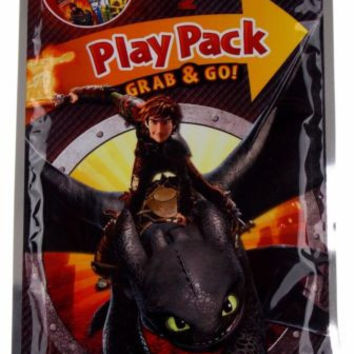 Lot 10 Train Dragon 2 Play Pack Grab & Go Coloring Book Crayons Stickers Favors