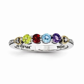 Sterling Silver & 14k Four-Stone And Diamond Mother's Ring