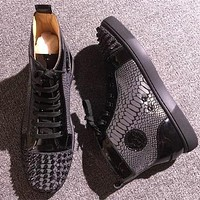 Cl Christian Louboutin Lou Spikes Style #2207 Sneakers Fashion Shoes