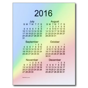Rainbow 2016 Mini 6 Month Calendar by Janz Postcard