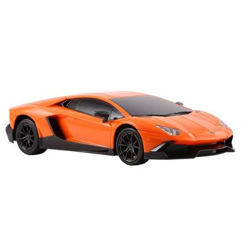 Radio Controlled Model Car 1:24 Scale Full Function for Lamborghini Aventador Orange with Battery and Remote