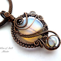 Woven wire pendant, Wire Wrapped jewelry handmade, copper jewelry, wire jewelry, opalite glass, woven wire jewelry, pendant necklace