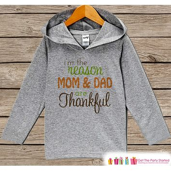 Thankful Hoodie - Kids Thanksgiving Pullover - I'm The Reason Mom & Dad are Thankful - Pregnancy Announcement - Baby Thanksgiving Outfit