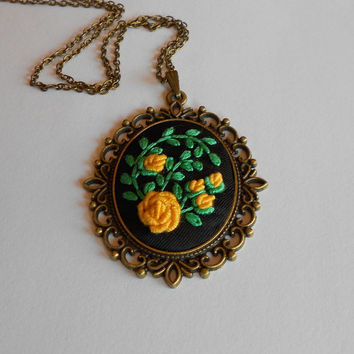 Yellow Floral Necklace, Statement Necklace, Yellow Roses Necklace, Bronze Necklace, Fabric Jewelry, Cameo Pendant, Vintage Jewelry