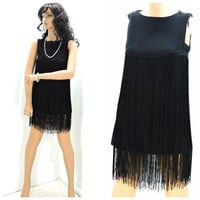 Vintage black flapper dress, fringed mini dress S, 70s / 80s cocktail party dress, sheer black fringe dress, SunnyBohoVintage