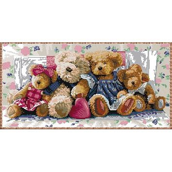 High Quality Gold Collection Counted Cross Stitch Kit A Row Of Love Teddy Bear Family Gathering Club Group dim 35039