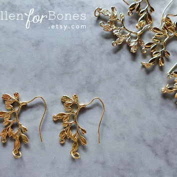 Gold Leaf Earring Branch Jewelry Supplies ∙ 2pcs