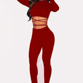 Burgundy Lace-Up Two Piece Bodycon Homecoming Wide Leg Long Jumpsuit