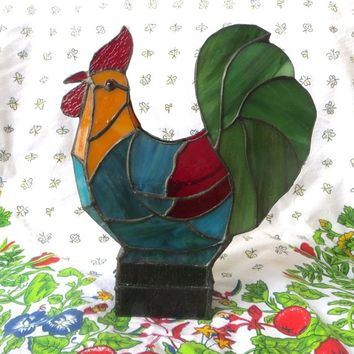 Vintage Rooster Candle Holder, Stained Glass Rooster, Votive Holder, French Countrry Farmhouse Decor, 10 Inch