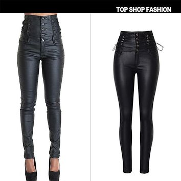 PU Leather High Waist Slim Elastic Waist band Pencil Pants