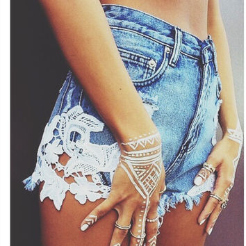 New sexy lace patchwork high waisted tassels ripped shorts jeans