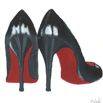 Christian Louboutin - Original Fashion Illustration Print by Lexi Rajkowski
