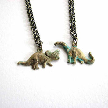 tiny dinosaur necklace - choose your dino - triceratops vs. brontosaurus / apatosaurus - verdigris green patina