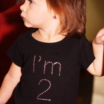 Birthday Age Rhinestone Number Bling Boutique Custom Swarovski Rhinestone Shirt for Baby, Toddler, Big Girls, Bday Shirt