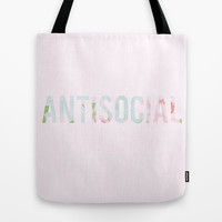 Antisocial Tote Bag by Courtney Burns