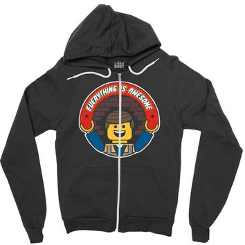 everything is awesome   mens funny lego Zipper Hoodie