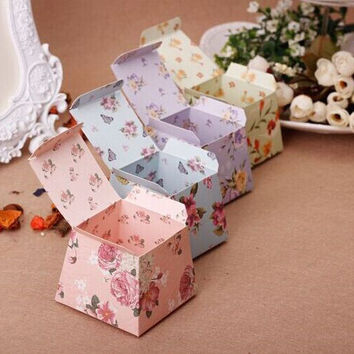 1pc lot Pink Floral Flower Trapezoid Wedding Favor Candy Boxes Gift Box Sugar Candy Box Baby Shower Marriage Gift