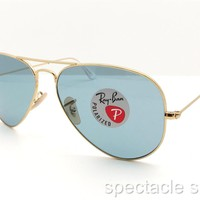 Cheap Ray Ban 3025 001/3R 58 Gold Blue Polarized New Authentic Sunglasses outlet