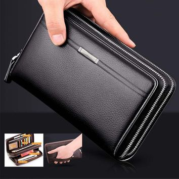 Fashion Business Men's PU Leather Wallets Handbag Multifunctional Bank/ID Card Holder Wallet Double Zippers Large Capacity Clutc