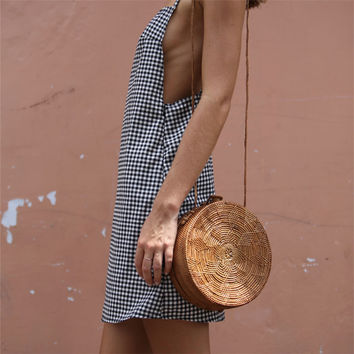 women plaid beach dresses gingham summer dress sleeveless strap open back 2017 mini sundress black and white-0412
