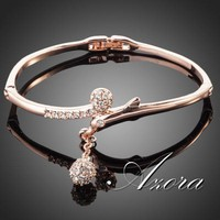 AZORA 18K Rose Gold Plated Full Stellux Austrian Crystal Round Pendant Bangle Bracelet TB0012