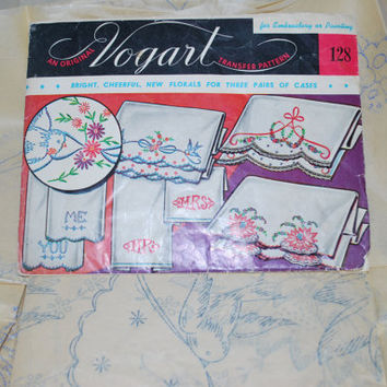 Pattern Embroidery Vintage Vogart 1950 , Iron Transfer Patterns Sewing Kit