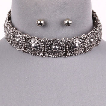 "14"" silver collar choker bib boho necklace .30"" earrings"