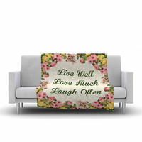 "NL Designs ""Live Love Laugh"" Floral Typography Fleece Throw Blanket"