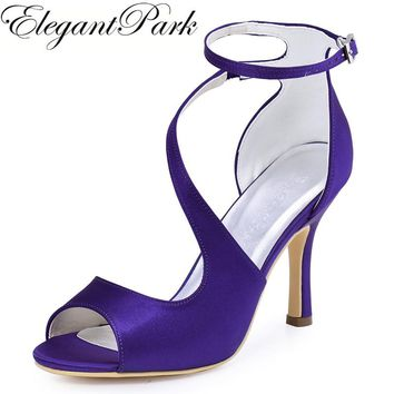Woman Sandals High Heel Purple Burgundy Peep Toe Cross Ankle Strap Satin  Lady bridesmaid Prom Party 52a3ea7415