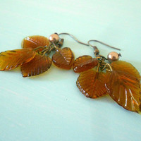 AUTUMN CASCADE Fall Dangly Woodland Earrings with Glass Leaves in Amber Brown & Bronze Swarovski Pearl from Dryad Dreams