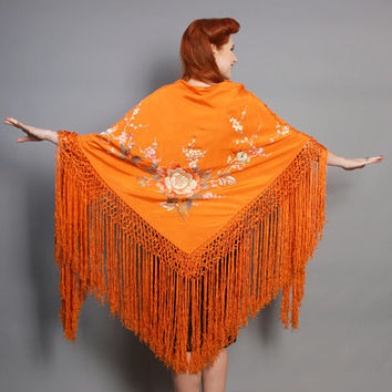 20s ORANGE Silk Piano SHAWL / Floral Embroidery & FRINGE