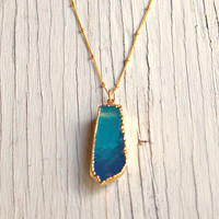 Blue Druzy Necklace, Gold Setting Druzy, Long Druzy Necklace, Blue Lace Agate, Ocean Blue Pendant, Gold Bead Chain, Long Pendant Necklace