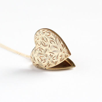 Vintage Gold Filled Large Flower Heart Locket Necklace - Art Deco 1930s Sweetheart Pendant Romantic Valentine Floral Jewelry