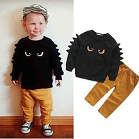 Autumn Winter Baby Boy Cute Clothing 2015 2pc Pullover Sweatshirt Top + Pant Clothes Set Baby Toddler Boy Outfit Suit