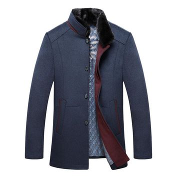 Cashmere Mink Hair Collar Business Casual Wool Coat High-end Jacket