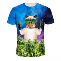 Galaxy Rainbow Popular 3D Cool Cat Weed Leaf Printed T-shirt size sml
