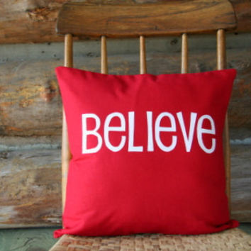 "Believe Christmas throw pillow cover / inspirational word decor / red white / 16"" x 16"" / cottage chic / modern holiday decor"