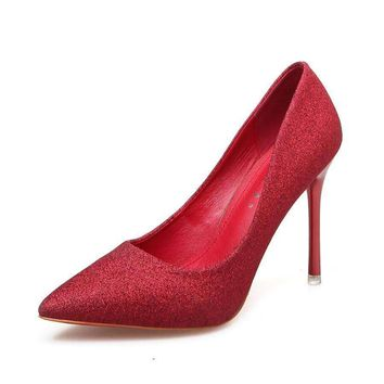 2018 new Glitter High Heel shoes woman pumps sexy Pointed Toe Female Wedding Shoes for women 5 colors 7cm or 9cm heel big size