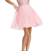 Angel Bride A-Link Strapless Short Tulle Homecoming Cocktail Prom Party Dresses