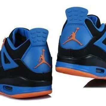 Hot Air Jordans 4 Retro Women Shoes Blue Black Orange