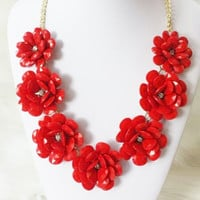 Beaded Rose Necklace, Flower Statement Necklace in Red, Wedding Necklace