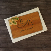 "Wedding Gifts  - Bamboo Personalized Cutting Board with Couple's Monogram Designs & Ceramic Serving Tray Combo (Each - 13"" x 9"")"