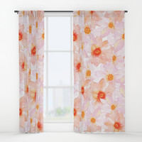 orange and pink watercolor dahlias Window Curtains by Sylvia Cook Photography