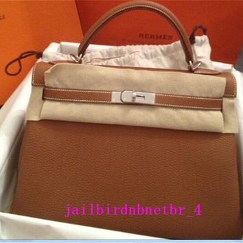 Authen HERMES Kelly 32 Brown Bag Purse~No Reserve With Stamp, bag, lock, keys