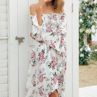 Boho Floral Off Shoulder Maxi Beach Dress with Long Sleeves