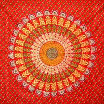 Red Peacock Indian Mandala Tapestry ,Indian Wall Hanging ,Hippie Indian Tapestry,Bohemian Wall Hanging,Queen Bedspread throw Decor Art