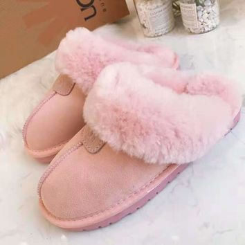 """""""UGG"""" Winter Classic Fashion Women Men Casual Flat Warm Snow Ankle Slipper Shoes Boots Pink"""