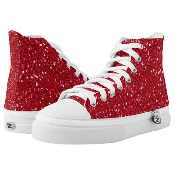 Red sparkle glitter printed shoes