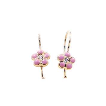 14 KT Wire back children's flower pink earrings (Pink)